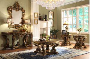 Antique European High Carving Ottoman Sofa Set