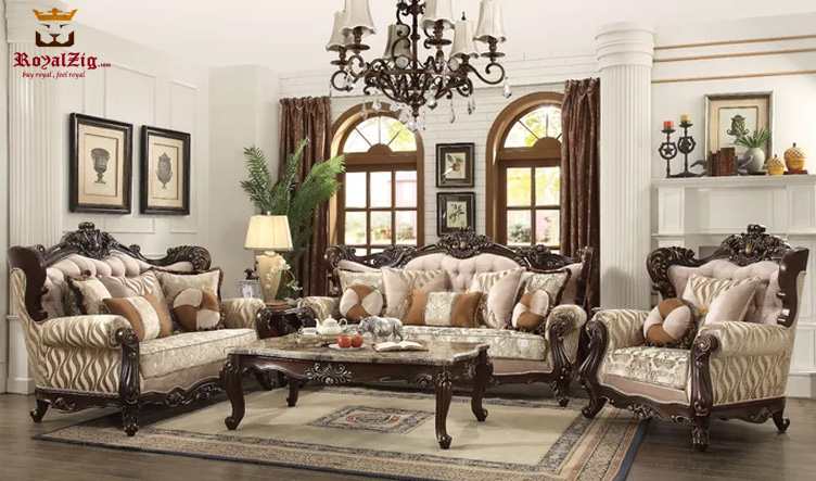 Antique Style Living Room Sofa Set, Antique Living Room Furniture