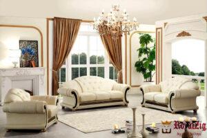 Classic Designer Tufted Wooden Sofa Set
