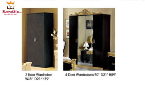 Classical Egyptian Bed Back and Gold Bedroom Set Online in India