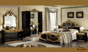 Classical Egyptian Style Golden Black Bedroom Set Brand Royalzig