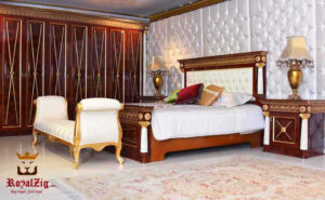 Cleopatra Luxury Bedroom Set- Teak Wood Color Brand Royalzig Online in India