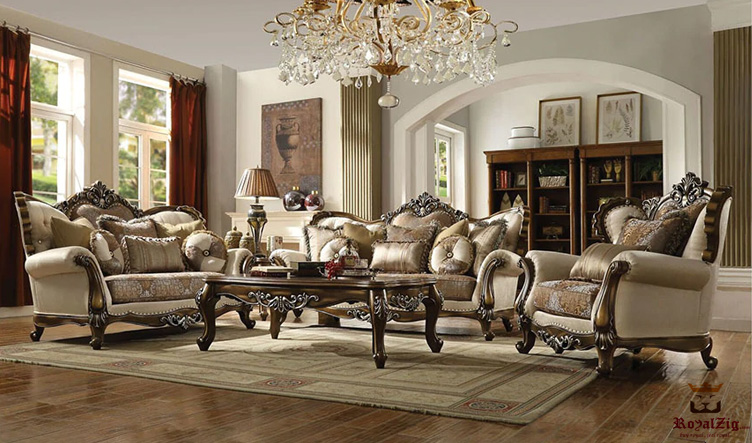 European Style Hand Carved Living Room Sofa Set Online in India