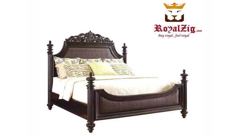 Ferro Walnut Antique Wooden Carved Bed Brand Royalzig Online in India