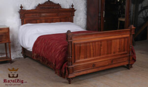 French Style Empire Teak Wood Hand Carving Double Bed Brand Royalzig Online in India