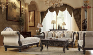 Hand Carved Antique Style Sofa Set Brand Royalzig