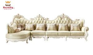 Hand Carved Teak Wood Corner Sofa Set Online in India