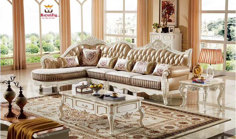 Handcrafted Maharaja Style Corner Sofa Set Online in India