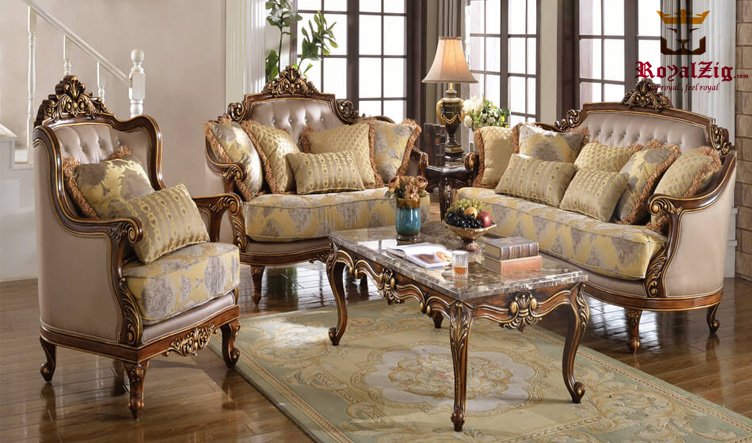 Indian Handcrafted Antique Style Walnut Sofa Set Online in India