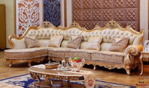 Maharaja Style Hand Carved Corner Sofa Brand Royalzig Online in India