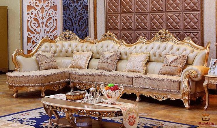 Maharaja Style Hand Carved Corner Sofa Brand Royalzig Online in India
