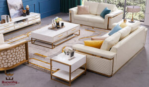Modern Luxury Italian Style Contemporary Steel Sofa Set Online in India