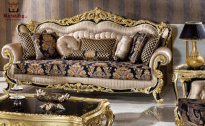 Pharaoh Black & Gold Carving Sofa Set Online in India