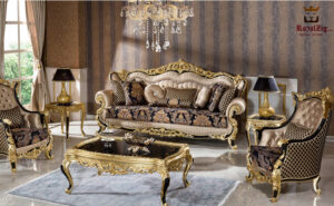 Pharaoh Black & Gold Carving Luxury Sofa Set 3 Seater + 2 Sofa Chairs+ 1 Center Table + 2 Sofa Side Brand Royalzig