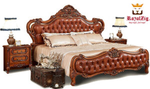 Tudor Antique Hand Carved Bed Brand Royalzig Luxury Furniture Tag Line - Buy royal , Feel royal