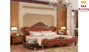 Tudor Antique Hand Carved Bed Brand Royalzig Luxury Furniture