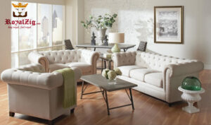 White Leather Tufted Sofa Set Online in India