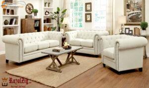 White Leatherette Sofa Set