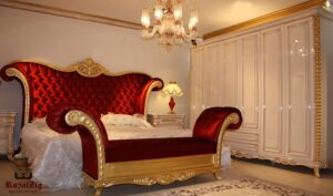 Aish Red & Gold Luxury Bedroom Set Brand Royalzig