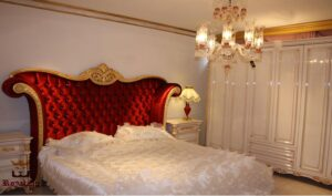 Aish Red & Gold Luxury Bedroom Set Made Of Teak Wood Brand Royalzig Online in India