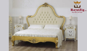 Anglo Indian Antique Golden Bed Frame Brand Royalzig