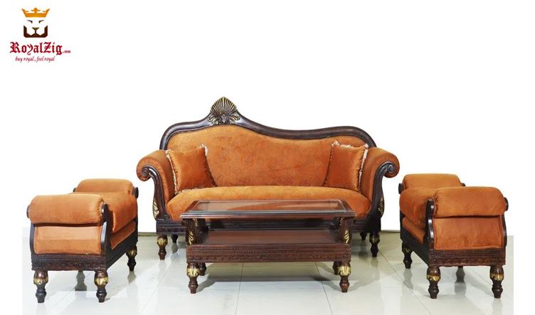 Royalzig Antique Carving Queen Sofa Set Brand Royalzig Handicrafts