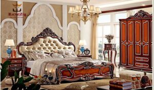 Antique High Headboard Hand Carving Luxury Bed Online in India