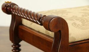 Antique Style Walnut Gloss Finish Bench