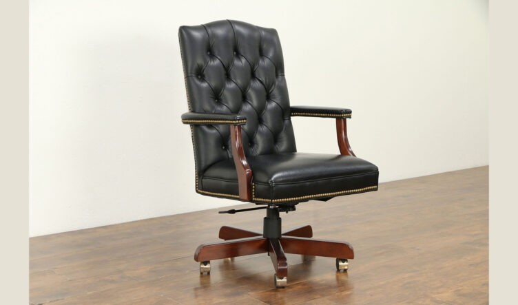 Antique Modern Style Upholstered Swivel Office Chair