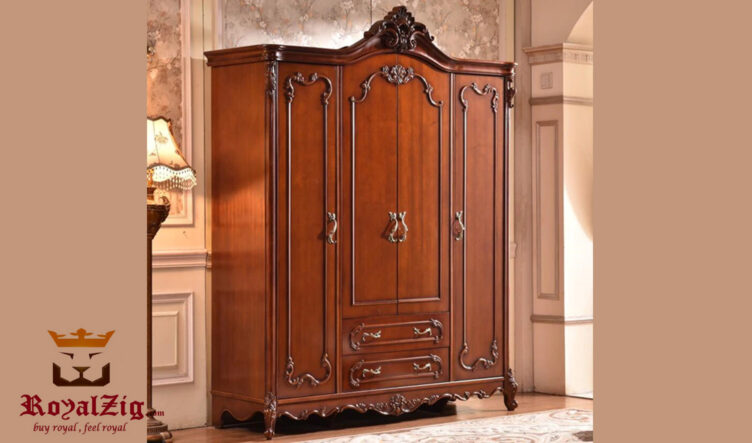 Antique Style Cherry Finish Wardrobe