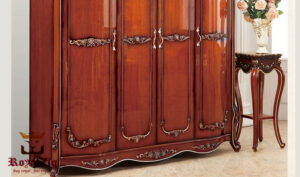 Antique Style Rosewood Finish Teak Wood Wardrobe