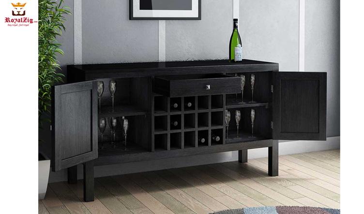 Banglore City Solid Wood Floor Wine Bar Cabinet Online in India