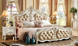 Chennai White & Gold Hand Carving Ornate Bed Made in India Brand Royalzig Luxury Furniture Online in India