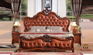Classic Indian Style Luxury Carving Teak Wood Made in India Bed Brand Royalzig