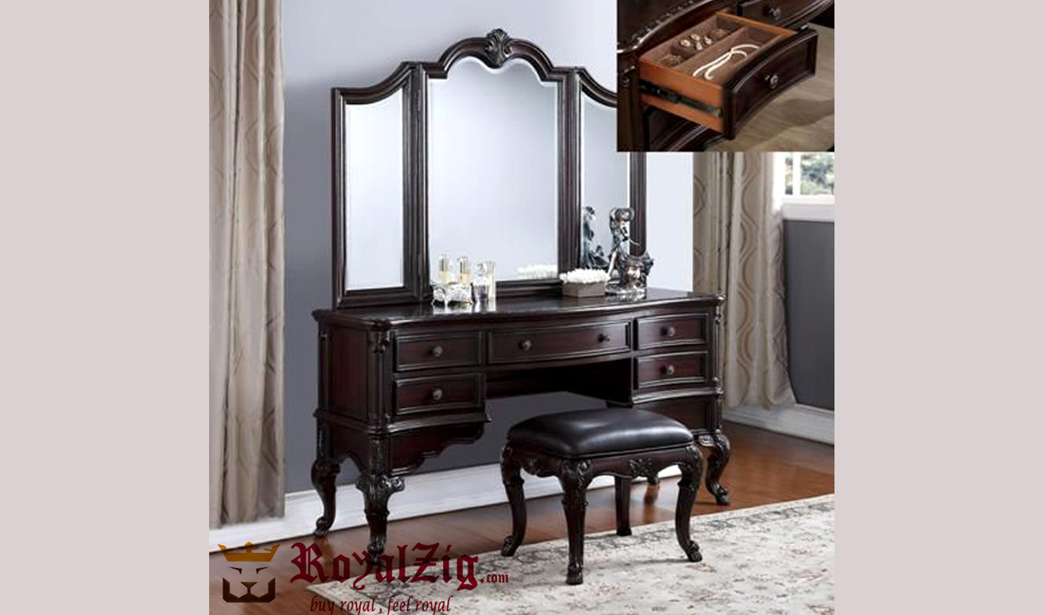 Classy Teak Wood Dressing Table With Mirror Frame