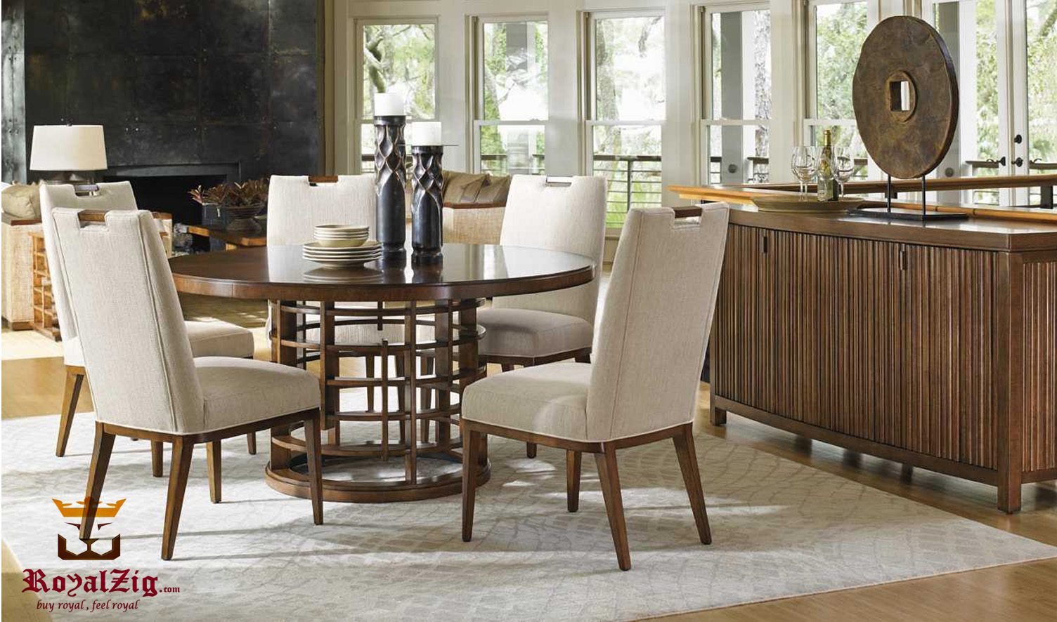 Cobham Modern Luxury Dining Table With Uplholstered Chairs
