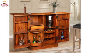 Double Diamond Expandable Wine Bar Cabinet with wine Bottle Rack Online in India