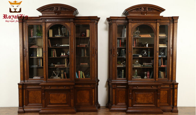 Elizabeth Antique Style Hand Carved Book Case Library Cabinet