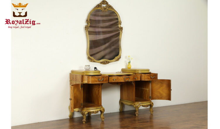 Elizabeth Antique Style Hand Carved Dresser With Mirror Frame