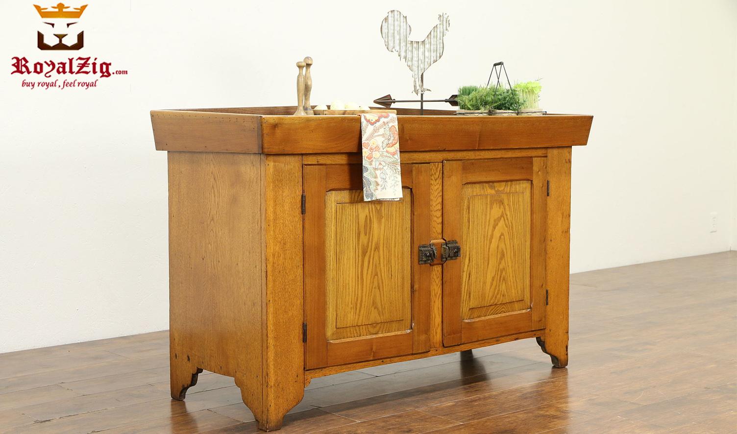 Elizabeth Antique Style Teak Wood Pantry Cabinet - RoyalZig