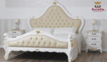 Feriha Victorian Tufted Headboard White Bed
