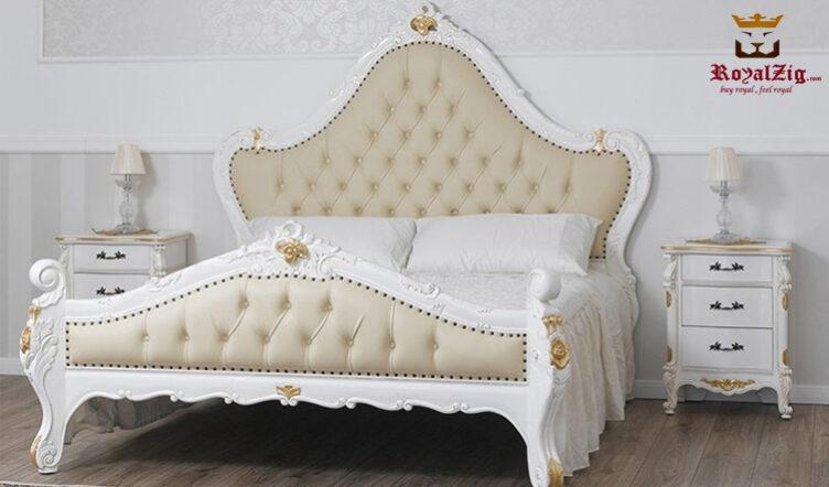Feriha Victorian Tufted Headboard White Bed