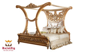 Glamorous Royalzig Bed With Canopy & Impressive Arched Framework Online in India