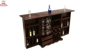 Handcrafted Brass Inlay Wooden Bar Unit Brand Royalzig Online in India