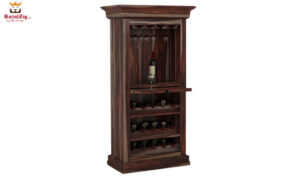 Handcrafted Solid Wood Tall Wine Bar Cabinet Online in India