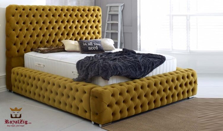High Headboard Tufted Luxury Bed Online in India
