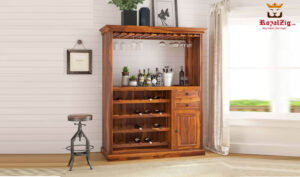 Home Bar Cabinet with Wine Display Rack
