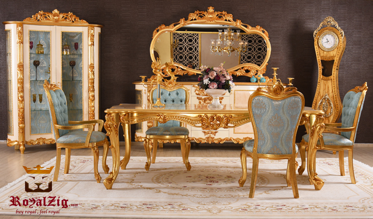 Imitation Gold Royalzig Italian Style Dining Set Online in India