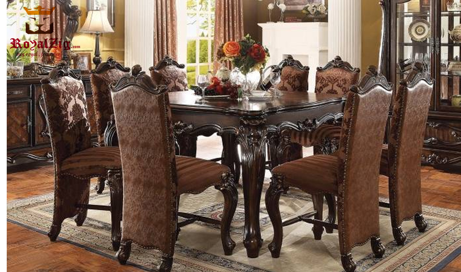Isabella Spanish Style Antique Hand carved Dining Set 2