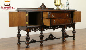 Italian Antique Style High Carving Walnut Sideboard 3Italian Antique Style High Carving Walnut Sideboard